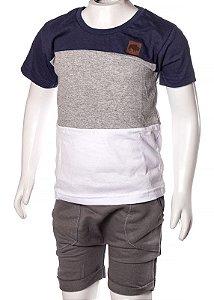 Conjunto Camiseta e Bermuda Marinho Mescla e Branco 192107