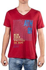 Camiseta Gola V Com Estampa Vermelha 192122