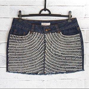 Saia jeans com perolas Kitson