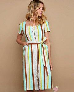 Vestido Listrado com cinto Areia/Verde