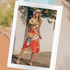 LHB Vestido Folhas Tropicais