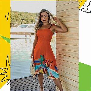 LHB Vestido Laranja Estampa Praia