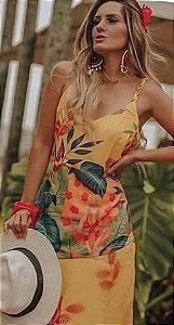 LHB Vestido Amarelo Regata Floral