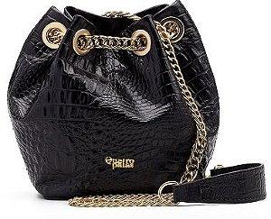 Bucket Bag Beatriz | Couro Croco Black
