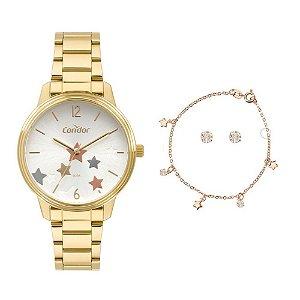 Kit Relógio Condor Feminino COPC21AEDT/K4D + colar e brincos