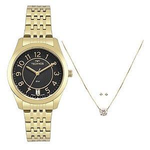 Kit Relógio Technos Feminino Elegance Boutique 2115KNJS/K4P + Colar e Brincos