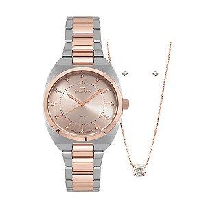 Kit Relógio Technos Feminino Elegance Boutique 2035MPB/K5T + Colar + Brincos