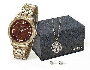 Relógio Mondaine Feminino 99278LPMKDE2K1 + Colar e brincos