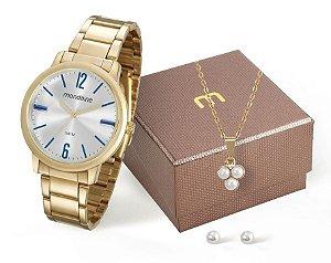 Relógio Mondaine Feminino 53535LPMVDE1K3 + Colar e brincos