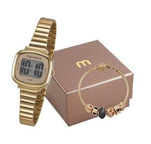 Kit Relógio Mondaine Feminino Digital 53717LPMVDE1K2 com pulseira