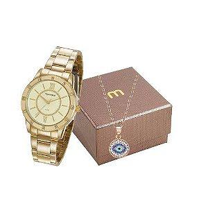 Relógio Mondaine Feminino 99315LPMGDE2K1 + Colar