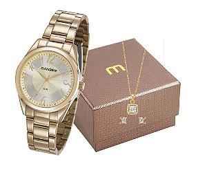 Relógio Mondaine Feminino 83388LPMVDE1K1 + Colar e brincos