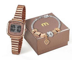 Kit Relógio Mondaine Feminino 53717LPMVRE2K1 com pulseira Digital