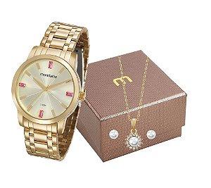 Relógio Mondaine Feminino 99308LPMGDE1K1 + Colar e brincos