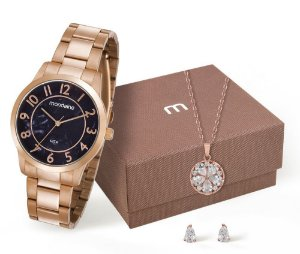 Relógio Mondaine Feminino 53638LPMVRE1K8 + colar e brincos