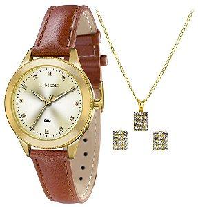Relógio Lince Feminino LRC4395L KT17C1MX + Colar + Brincos