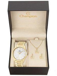 Kit Relógio Champion Elegance Feminino CN26153W com Colar e Brincos