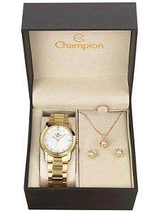 Kit Relógio Champion Elegance Feminino CN26411W com Colar e Brincos