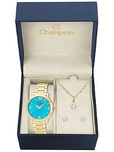 Kit Relógio Champion Elegance Feminino CN25403Y com Colar e Brincos