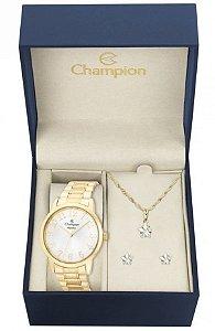 Kit Relógio Champion Elegance Feminino CN26171W com Colar e Brincos