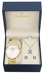 Kit Relógio Champion Elegance Feminino CN27652W com Colar e Brincos
