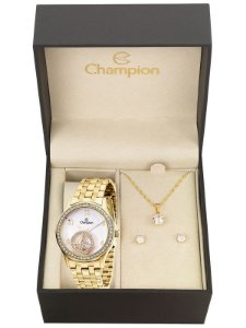 Kit Relógio Champion Elegance Feminino CN28473W com Colar e Brincos