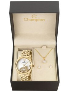 Kit Relógio Champion Elegance Feminino CN28482W com Colar e Brincos