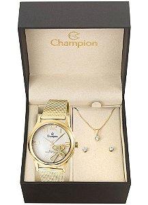Kit Relógio Champion Elegance Feminino CN28491W com Colar e Brincos