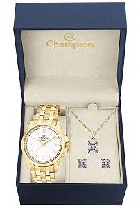 Kit Relógio Champion Elegance Feminino CN26680W com Colar e Brincos