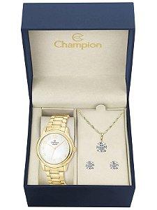 Kit Relógio Champion Elegance Feminino CN26804W com Colar e Brincos