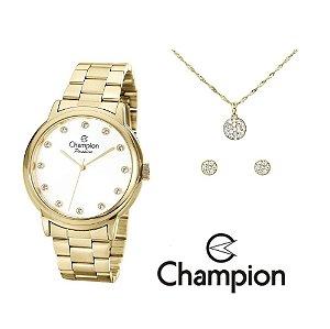 Kit Relógio Champion Elegance Feminino CN29874W com Colar e Brincos