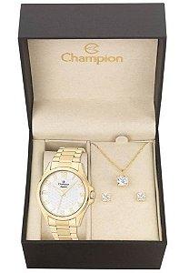 Kit Relógio Champion Elegance Feminino CN26377W com Colar e Brincos