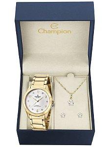 Kit Relógio Champion Elegance Feminino CN29230D com Colar e Brincos