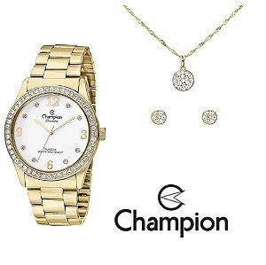 Kit Relógio Champion Passion Feminino CN28893W com Colar e Brincos
