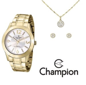 Kit Relógio Champion Passion Feminino CN29418B com Colar e Brincos