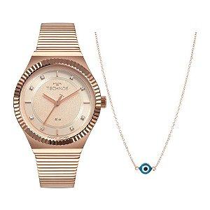 Kit Relógio Technos Style Rosê Feminino 2035MRV/K4T + colar
