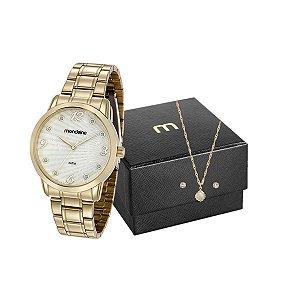 Kit Relógio Mondaine Feminino 83371LPMVDE1K1 com colar