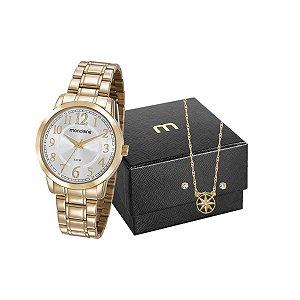 Kit Relógio Mondaine Feminino 83427LPMVDE1K2 com colar