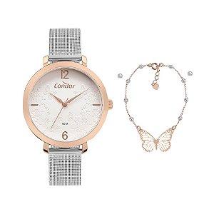 Kit Relógio Condor Feminino CO2035MYT/K4J  + pulseira e brincos