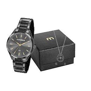Kit Relógio Mondaine Feminino 53817LPMVPE2K1 com colar + brincos