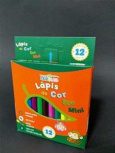 Caixa com 12 Lápis de Cor Mini Ecológico Sextavado Léo e Léo