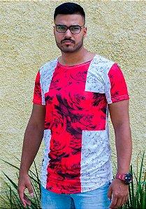 Camiseta Longline Oversized Masculina Rosas Vermelhas