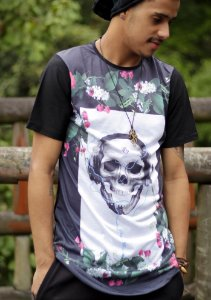 Camiseta Longline Floral Music Skull