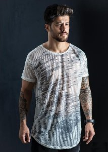 Camiseta Longline Over Mescla Riscada