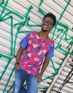 Camiseta Longline Estampa Floral Red Blue