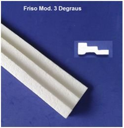 1 metro Rodameio e Guarnição de Isopor Modelo 3 Degraus com 8cm 2peças 0,50cm Moldutec