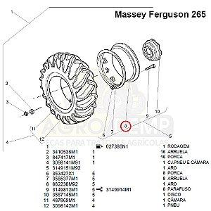 RODA ARO TRASEIRO 14X30 MASSEY FERGUSON 55X / 65X / 265 / 275 / 285 - 882230