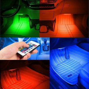Kit Iluminação Interior Carro Luz Led Rgb Strobo C/ Controle