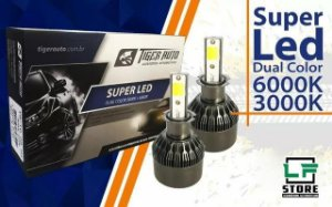 Lampada Super Led Dual Color 6000K/3000K H3 Farol de Milha Vw Gm Celta Corsa Gol