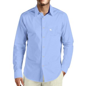 4f9720329b Camisa Social Masculina Lobo Branco Vip blue jeans